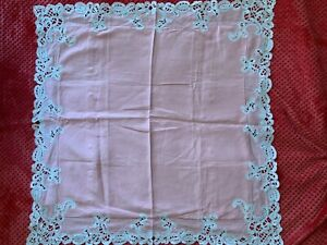 2 Beautiful Antique French Pink Pillow cases with handmade Renaissance lace 82cm