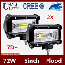 2X 5'' Inch 72W LED Work Light Bar Flood Driving Lamp 4WD Offroad 12V24V 7D LENS