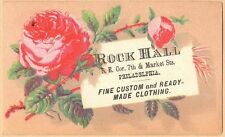 Small Victorian Trade Card-Rock Hall Clothing-Philadelphia, PA-Red Roses
