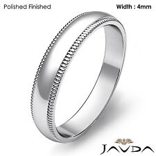 Plain Men's Wedding Band Dome Milgrain Edge Ring 4mm Platinum 7.1g Size 11-11.75