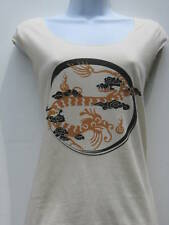 NEW American Apparel ORGANIC Asian red gold dragon top