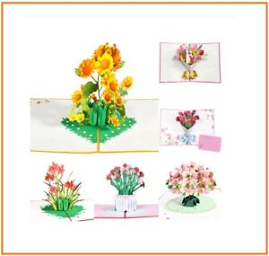 Pop-Up Flower Card Flora 3D Greeting Card for  Mothers Father's B'Day Graduation