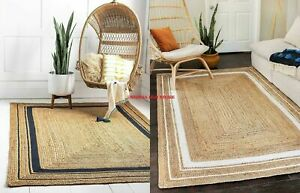 Rug 100% Natural Jute Handmade Braided style Runner Rug Morden Living Carpet Rug