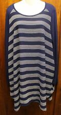 mittoshop Navy Blue White Striped Tunic Shirt Dress Large