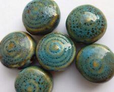 6 en céramique émaillée Disque Perles, bleu/vert 20 mm fabrication de bijoux/perles/Artisanat