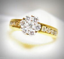 White Cluster Yellow Gold Fine Rings