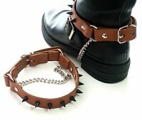 Real Leather BOOT STRAPS-6 STYLES-Black-Brown-Tan-Silver or Black Cone Stud