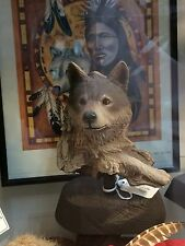 """Rick Cain Limited Edition """"Waiting Wolf"""" 1593/2000 Carved Wolf"""
