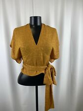 New With Rags Women's Anthropologie Mustard Yellow Wrap Top