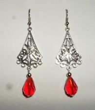 LOTUS FILIGREE LONG RED FACETED GLASS DROP EARRINGS DARK SILVER PLATED Hook