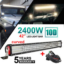 "10D 4 ROW 42''INCH CURVED 2400W LED LIGHT BAR COMBO FLOOD SPOT LAMP BOAT 40"" 44"""