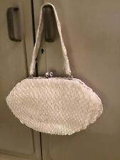 Pretty Vintage White and Silver  Evening Bag
