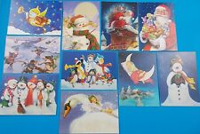 """Christmas cards lot of 10 Treefree with decorative envelopes 5"""" x 7"""" angel cat"""
