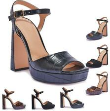 Señoras para mujer Tacones Altos Plataforma Bloque Talón Sandalias Peep Toe Tira al Tobillo Zapatos
