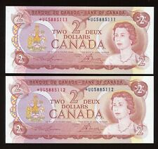 Bank of Canada $2, 1974 - Lot of 2 Consecutive Replacement Notes - *UG Prefix