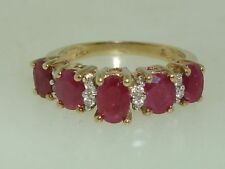 LOVELY 10K GOLD APPROX. 1.75 CTW RICH RED  RUBY & DIAMOND RING! SZ 6 1/2