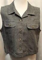 Talbots Black & White Gingham Cropped Shirt Top Sleeveless Button Up Medium