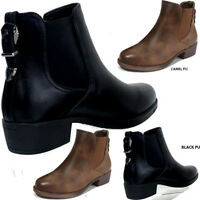 New Women's Chelsea Ankle Boots PU Back Buckle Casual Block Shoes Faux Leather