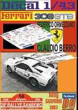DECAL 1/43 FERRARI 308 GTB F.ORMEZZANO R.SANREMO 1983 (01)