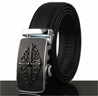 Mens Black Dress Fashion Leather Belt Ratchet Automatic Buckle Stainless Steel 2