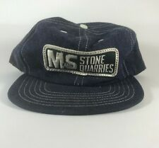 Vintage Made in the USA Denim & Mesh Snapback Trucker Hat Cap MS Stone Quarries