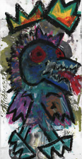 MR CLEVER ART FIRE KING MYSTIC CREATURES contemporary abstract avant garde oil