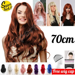 New Women 70cm Long Wavy Curly Hair Synthetic Cosplay Full Wigs Wig Stand Party