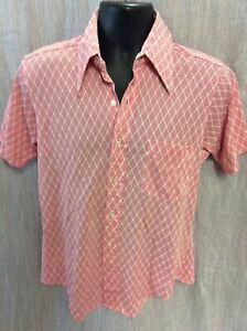 Vintage 70s Fruit of the Loom Xanadu Knits Geometric Poly Nylon Shirt 15 1/2 fun