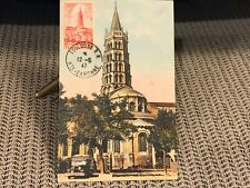 Postcard 3 Cent Stamp & 3 Other stamps Toulouse R.P. Hte-Garonne Postal Paris