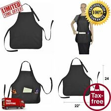 Black Apron With 3 Pockets For Womens Mens Work Kitchen Chef Cooking Bib Spun