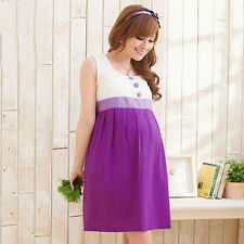 New Pregnant Women's Casual Tunic Sundress Clothes Crew Neck Maternity Dress