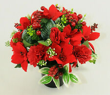 Artificial silk flowers memorial Crem Pot Grave arrangement CHRISTMAS RED