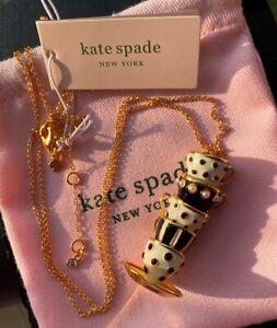 Kate Spade New York Tea Time Cups Pendant Long Necklace Black & White
