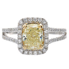 Diamond Engagement Ring GIA Certified Fancy Yellow Radiant Cut 3.25 Ct 18k Gold