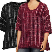 Ladies UK Size Plus 16 - 22 Wine or Black Fluffy Striped Oversize Jumpers