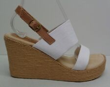 Sbicca Size 8 M White Tan Platform Wedge Heels Sandals New Womens Shoes