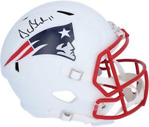 Drew Bledsoe NE Patriots Signed Flat White Alternate Revolution Replica Helmet