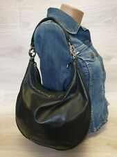 Authentic GUCCI GG twins Hobo Shoulder Bag Purse Black Leather Logo 232962 tote