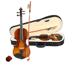 Natural 1/4 4Strings Basswood Acoustic Violin Fiddle for Beginner with Bow Case