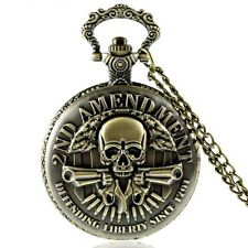 Pocket watch Spring loaded lid 2ND Amendment Scull Colts Biker Stainless steel+