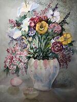 "ORIGINAL ART Watercolor Painting Spring Floral Joan Perry (1928-2019) 24""h X18""w"