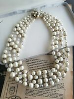 Vintage 4 strand graduated cream faux pearl and Austrian Crystal necklace