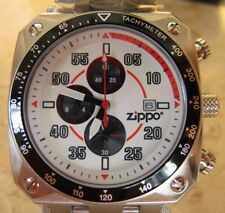 Zippo Chronograph Watch with White Dial and Stainless Steel Band NEW WITH BOX