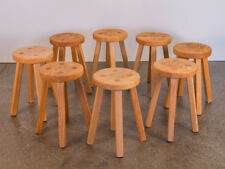 Vintage American Craft Oak Dining Stools in Style of Charlotte Perriand