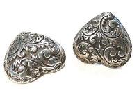 Bijou étain argenté boucles d'oreilles clips coeur ramages earrings