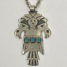 Navajo Kachina Totem Necklace 30in Turquoise Bell Trading Post Vtg Nickel Silver