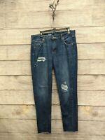 Mossimo Denim Boyfriend Garconne Frayed Hem Distressed Jeans sz 10/30 B1