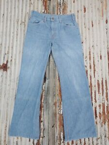 Vintage 1970s Levis Little e Orange Tab  Blue Denim Jeans 31x32 Hippie Hemmed