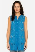 Johnny Was Marietta Tunic Top XS Blue Eyelet Embroidered Summer NWT