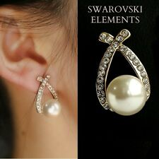Boucles d'oreilles boutons  luxe Swarovski® Elements ovales perle blanche pq or